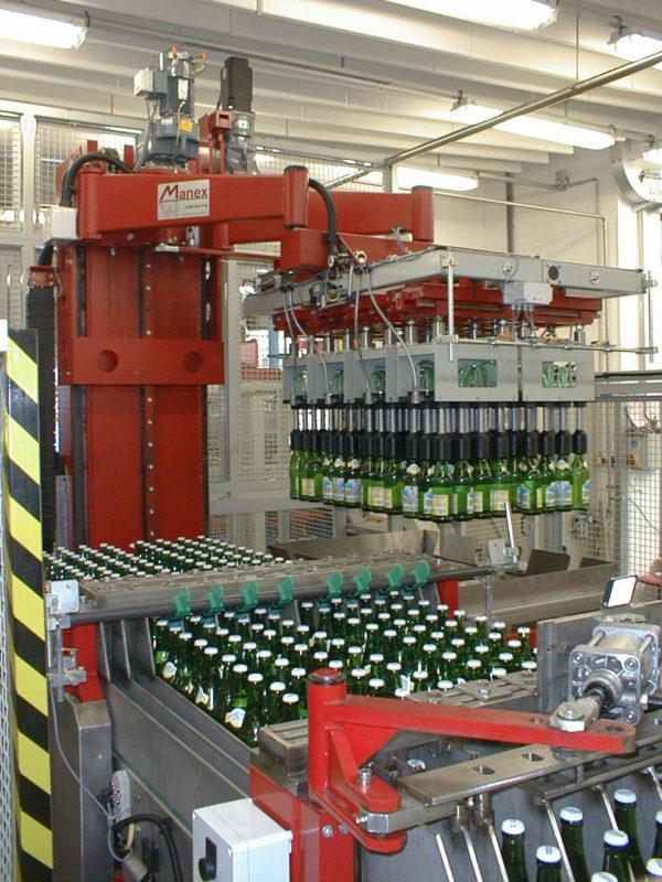 Линия депалетизации бутылок, банок